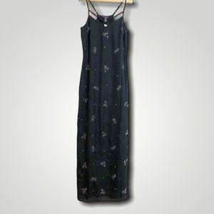 Long Tall Sally beaded black maxi dress spaghetti